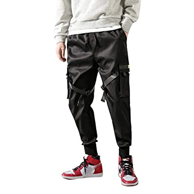 77ba43c6324451 Men's Hiphop Pants, 2019 New Drawstring Punk Jogger Cargo Sport Pants  Lightweight Multi Pockets at Amazon Men's Clothing store: