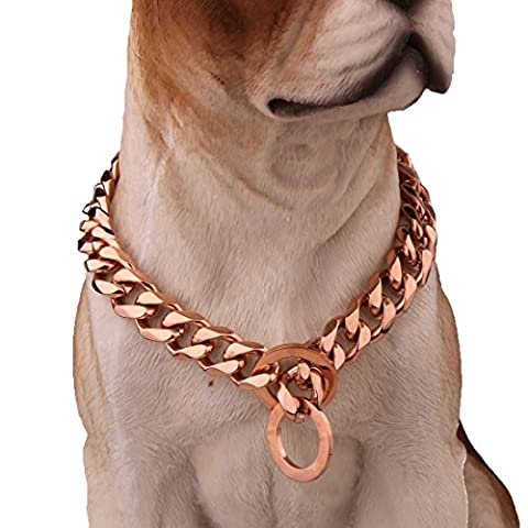 Elegant Rose Gold 12mm Stainless Steel Cuban Link Chain Dog Collars,12-36inch (12inch) (Gold Chain For Dog)