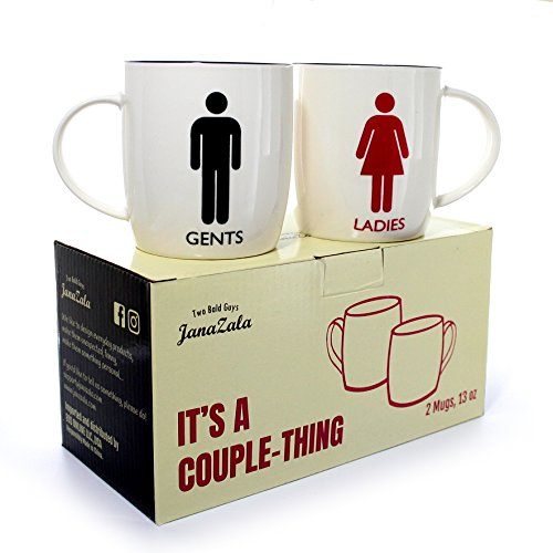 Janazala Funny Toilet Signs Mugs For Him and Her, His And Hers Coffee Cups For Mom Dad, Grandparents, Friends, Humour Engagement Anniversary Gifts For Couple, Christmas, Ceramic, Set of 2, 13 oz