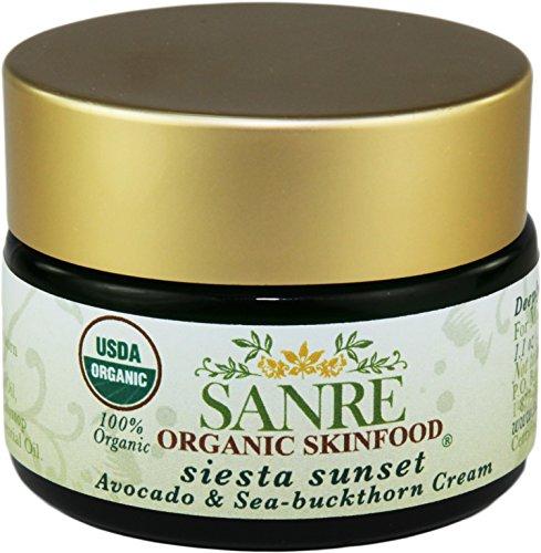 SanRe Organic Skinfood - Siesta Sunset - 100% USDA Organic Beneficial Avocado & Praised Sea-Buckthorn Cream For Dry to Mature...