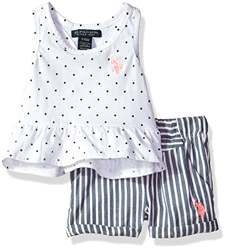 U.S. Polo Assn. Baby Girls Fashion Set, Ruffle Hem Top Printed Short White, 6-9 Months