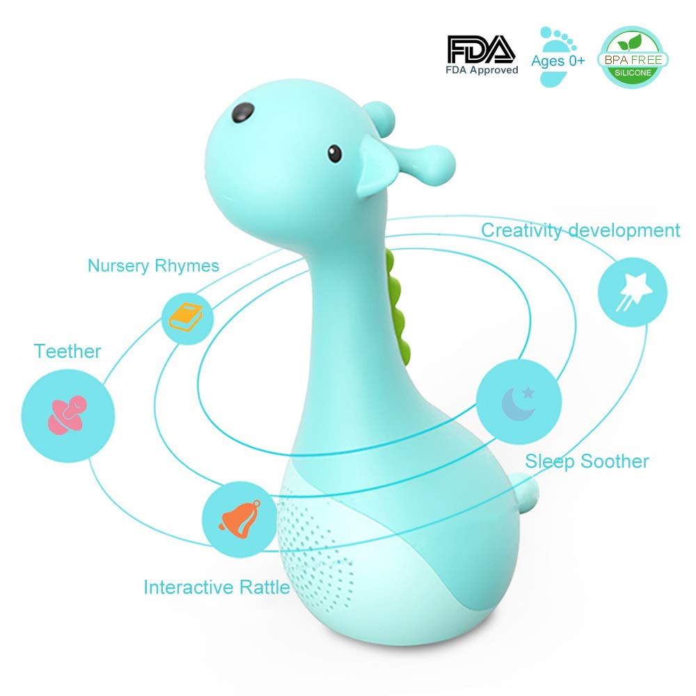 MOOSEED Baby Sleep Soother, Baby Rattle and Teething Toys BPA Free Soft Silicone Baby Teether & Shaker Newborn Gift, Musical Toy, Early Educational Toys, Deer - Blue