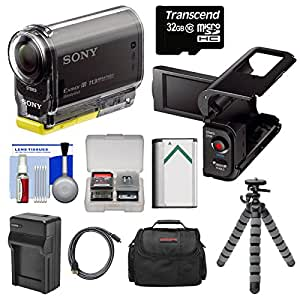 Sony Action Cam HDR-AS30V 1080p Wi-Fi HD Video Camera Camcorder with LCD Camcorder Cradle + 32GB Card + Battery + Charger + Case + Tripod + HDMI Cable + Kit