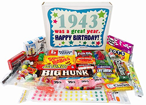 Woodstock Candy 1943 75th Birthday Gift Box of Retro Nostalgic Candy from Childhood for a 75 Year Old Man or Woman Born in 1943
