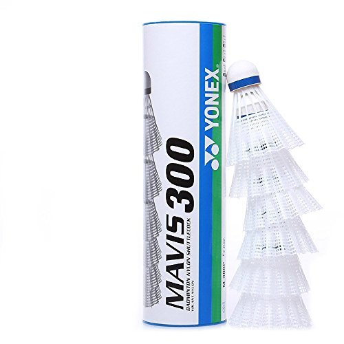 Yonex Mavis 300 Medium Speed Nylon Plastic Shuttlecock (White, Pkg of 3 tubes (18 pcs))