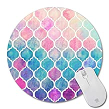Generic cool rainbow pastel watercolor moroccan pattern prints Mouse Pad Small Size Round Gaming Non-Skid Rubber Pad by Generic