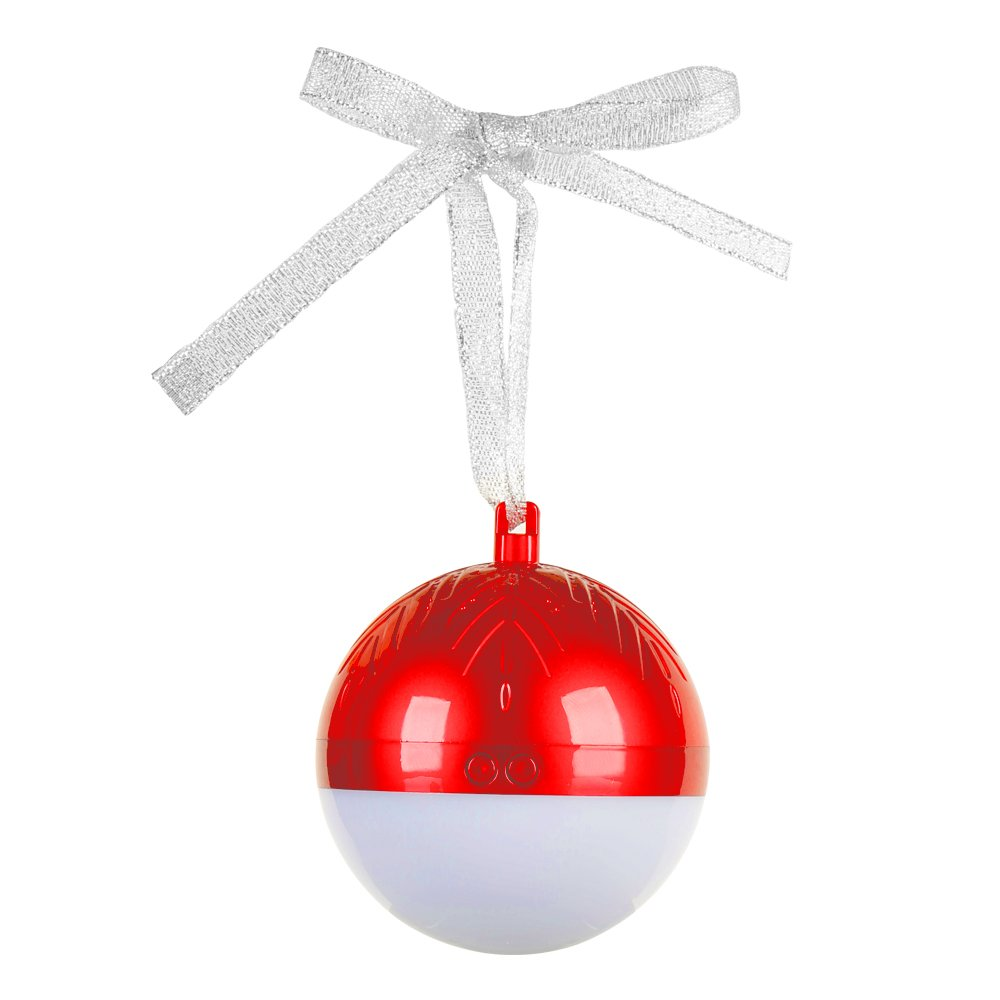Meedasy LED Lights Christmas Ball Bluetooth Speaker, True Wireless Stereo Portable Bluetooth 4.2 with HD Audio, Built-in Microphone for Home Party Christmas and Travel (Red)