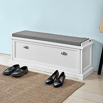Amazon.com: Haotian - Banco de almacenamiento, color blanco ...