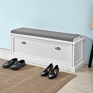 Amazon.com: Haotian White,White Storage Bench with ...