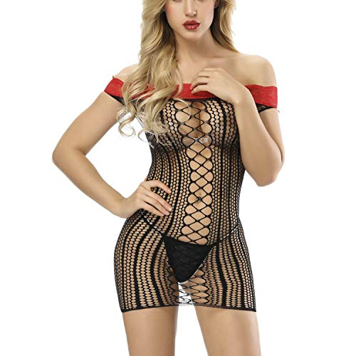 (Strapless Shoulder Net Lingerie for Women Fishnet Lingerie Women Seamless Chemise Hollow Out Plus Size Mini Dress)