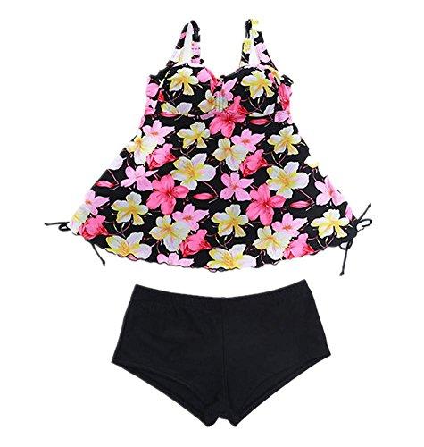 MIAO Agregue el fertilizante para aumentar la fractura de grasa Obscure la impresión conservadora Beach Spa Swimwear pink flowers