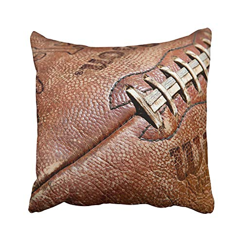 summer-M Sports Vintage Distressed Leather Football Decorative Throw Pillow Case 18X18Inch,Home Decoration Pillowcase Zippered Pillow Covers Cushion Cover with Words for Book Lover Worm Sofa Couch