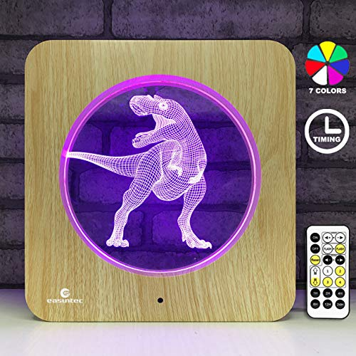 Dinosaur Toys,Easuntec Dinosaur Night Lights for Kids with Timing Remote Control & Smart Touch 7 Colors Change Table Frame Lamps for Bedrooms Gifts for 2 3 4 5 6 Year Old Boy or Girl (Dinosaur WT001)