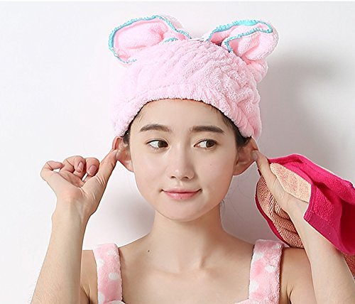 1PCS Lovely Rabbit Ears Terry Microfiber Quick Dry Shower Cap Strong Water Absorption Headwrap Headband Hair Hood Turban Hair Fast Drying Towel Bath Head Wrap Perfect for Lady Girl and Women (Pink)