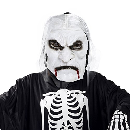 Halloween Latex Rubber Creepy Mask Scary Zombie Ghost Emulsion Skin with Hair,Halloween Party Costume (Cheap But Scary Halloween Costumes)