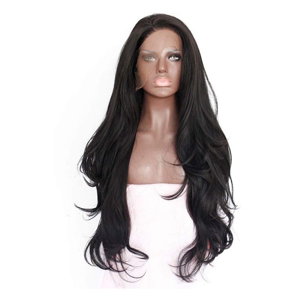 LF stores-wigs Wig Women's 26inch Long Natural Black Wave Wig Ms. Cosplay Free Wig Cap by LF stores-wigs (Image #4)