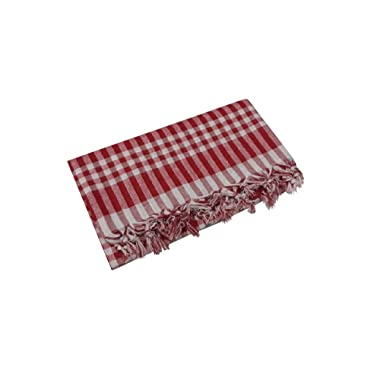 Tablecloth Linen Dinner Picnic Tablecloth Picnic Blanket Bohemian Retro Vintage Sofra (64x64, red)