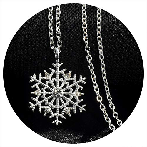 (Charms Lady Crystal Snowflake Zircon Flower Silver Plated Necklaces & Pendants Jewelry For Women Sweater Necklace White Silver Plated)