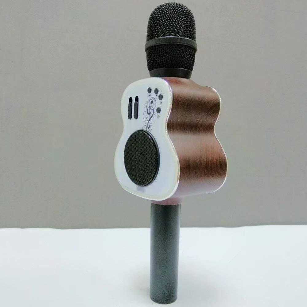 Braunes Holz GL-Musical instrument Kabelloses Blautooth-Karaoke-Mikrofon, tragbares 3-in-1-Karaoke-System mit Zwei eingebauten Lautsprechern für Home KTV.Work mit iPhone Android, PC und All Smartphone