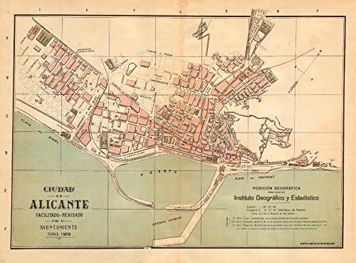 Alicante Alacant. Plano Antiguo Cuidad. Antiguo Ciudad/ciudad Plan. Martin – C1911 – Old Antiguo Mapa Vintage – Mapas de Impreso de España: Amazon.es: Hogar