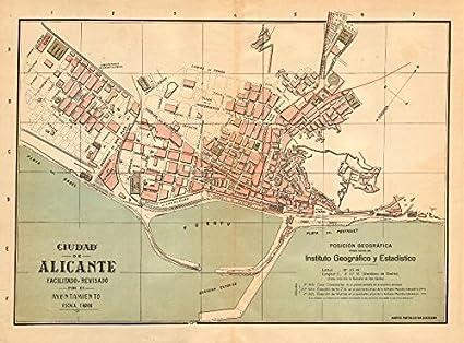Alicante Map Of Spain.Amazon Com Alicante Alacant Plano Antiguo Cuidad Antique Town