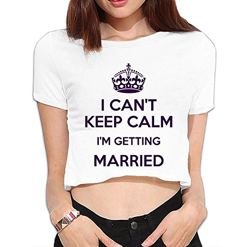 Kaiwa I Can't Keep Calm I'm Getting Married Women's Summer Short Sleeve T-Shirt Relaxed Bare Midriff Crop Top (Top Celebrity Couples For Halloween)
