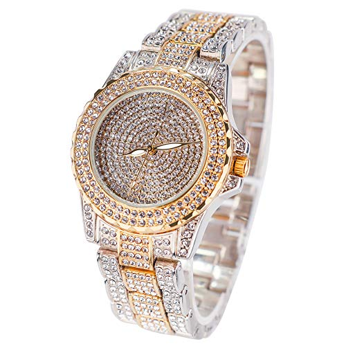 Smalody Round Luxury Women Watch Crystal Rhinestone Diamond Watches Stainless Steel Wristwatch Iced Out Watch with Japan Quartz Movement for Women | Simulated Lab Diamonds (Mix Gold) from Smalody