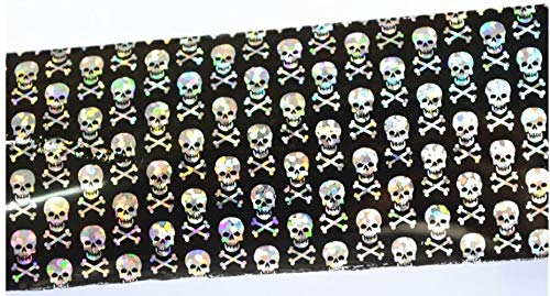 Skull Foil Glitter for Nails Punk Gothic Rockabilly Water color SKULL Nail Wrap Decals Sticker Salon Quality Nail Art - Great for Halloween! 1 Sheet]()