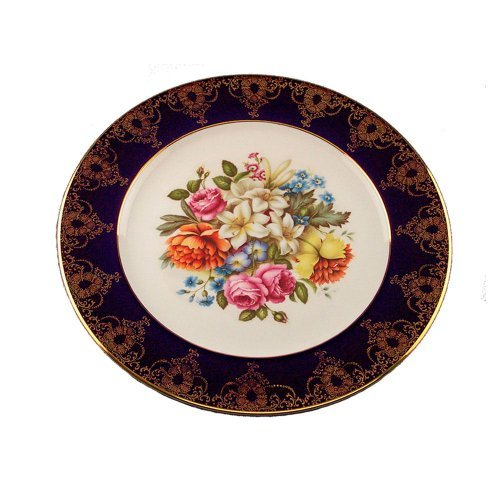 Limoges Porcelain Round Cake Plate, Cobalt With Flower on White - 7.5 Inch -