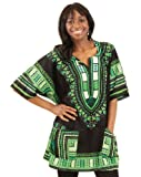 Traditional Thailand Style Dashiki - Available in Several Color Combinations (Black with Green)