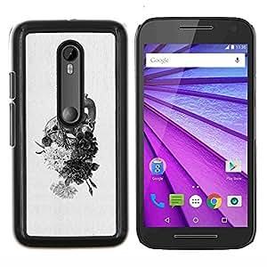 LECELL--Funda protectora / Cubierta / Piel For Motorola MOTO G3 3rd Gen -- Corazón Dibujo Lápiz Flores --