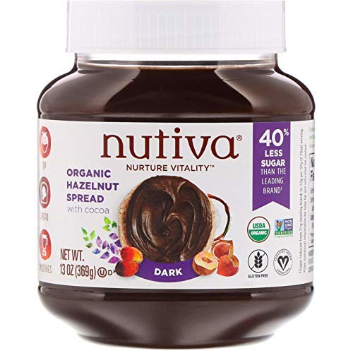 Nutiva Certified Organic, non-GMO, Vegan Hazelnut Spread with Cocoa, Chia and Flaxseed, Dark Chocolate, 13-ounces