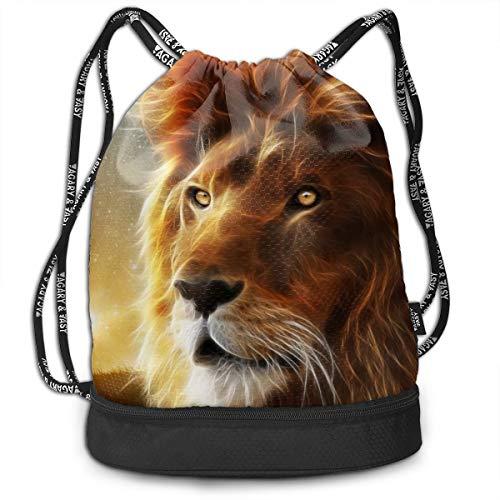 Portable Bundle Backpack, Cool Lion Sparkly Art Drawstring Bag For Girls & Boys, Gym Yoga Runner Sports Daypack]()