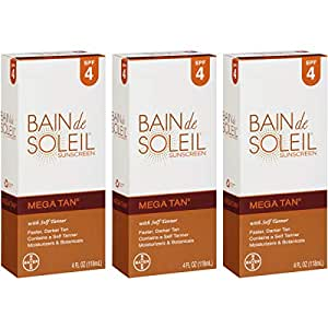 bain de soleil mega tan sunscreen lotion with self tanner spf 4 4 ounces each. Black Bedroom Furniture Sets. Home Design Ideas