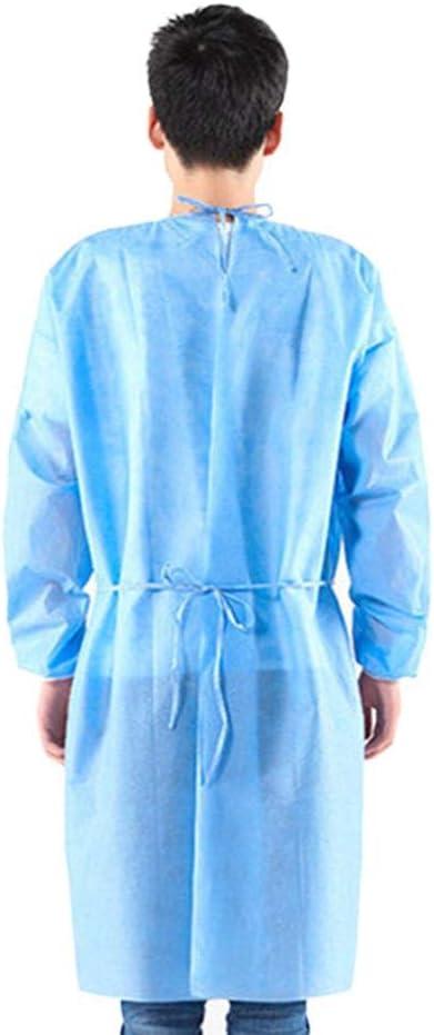 XL XXXL Bleu Createjia 10 PCS Blouse De Protection Isolante Jetable Combinaison Anti-poussi/ère Ext/érieure Int/érieure pour Femmes Hommes Anti-bu/ée Anti-Particules L XXL