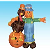 6 Foot Thanksgiving Inflatable Scarecrow + Turkey + Pumpkin