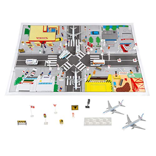 Hey! Play! Airport Playset - 43Piece Diecast & Plastic Airplane & Delivery Truck Toys with Mat & Accessories for Toddlers & Children