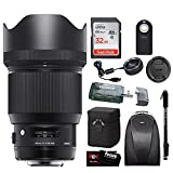 Sigma 85mm f/1.4 DG HSM Art Lens for NIKON F w/ Sigma USB Dock & 32GB Premium Travel Bundle