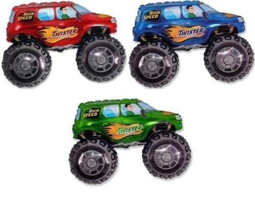 Foil Balloons Wholesale - 26 Inch Wholesale Monster Truck Shaped Foil Balloons (3 Pack, 1 of Each Colour)