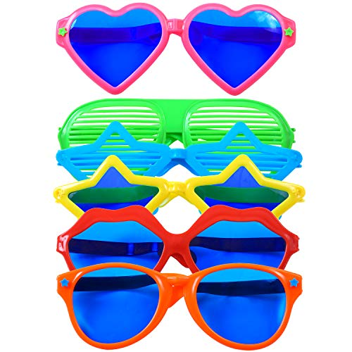 Cooraby 6 Pieces Jumbo Plastic Fun Sunglasses Shutter Shading Glasses Party Eyeglasses for Beach Costume Fancy Dress Photo Props Party Supplies -