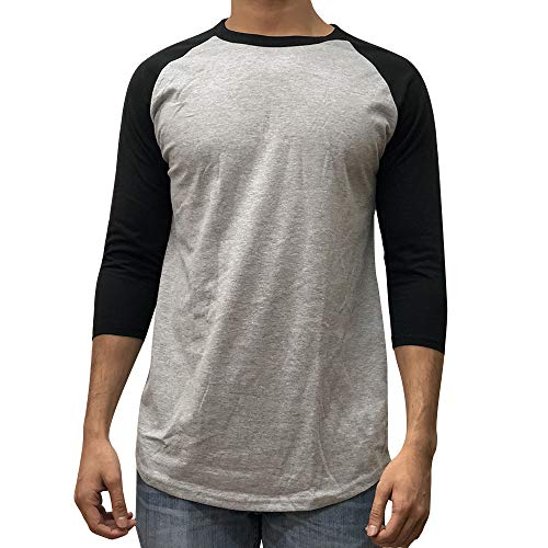 KANGORA Men's Plain Raglan Baseball Tee T-Shirt Unisex 3/4 Sleeve Casual Athletic Performance Jersey Shirt (24+ Colors) (Gray Black, XX-Large)