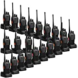 Retevis H-777 2 Way Radios UHF Rechargeable Long Range Two Way Radios 16CH Portable Emergency Walkie Talkies (20 Pack) with USB Charger Base and Adapter
