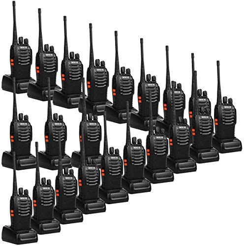 Radios UHF Rechargeable Long Range Two Way Radios 16CH Portable Emergency Walkie Talkies (20 Pack) with USB Charger Base and Adapter ()