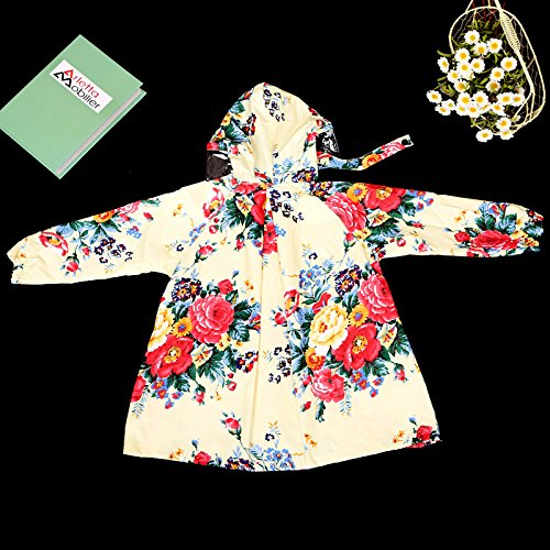 OLizee Girl's Floral Print Lightweight Hooded Outerwear Raincoat(XL) by OLizee (Image #3)