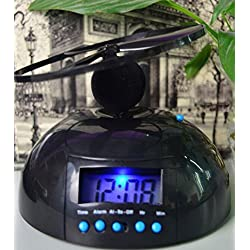 Zinnor Flying UFO Propeller Fly High Helicopter Blade LCD Digital Alarm Prank Clock Run Away Wake Up Heavy Sleepers, Backlight Wake-Up Bad Morning Wake
