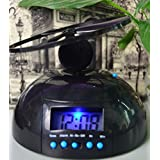 Zinnor Flying UFO Propeller Fly High Helicopter Blade LCD Digital Alarm Prank Clock Run Away Wake Up Heavy Sleepers, Backligh
