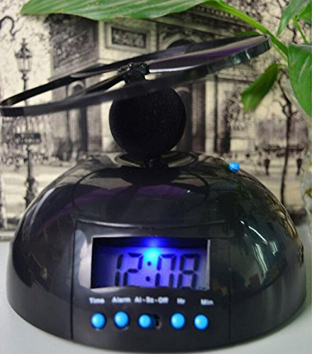 Zinnor Flying UFO Propeller Fly High Helicopter Blade LCD Digital Alarm Prank Clock Run Away Wake Up Heavy Sleepers, Backlight Wake-Up Bad Morning Wake (Wake Propellers)