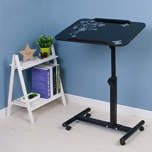 PANYFDD Rolling Laptop Desk Mobile Stand Up Desk Work Station Rolling Cart Removable Adjustable Household Bed Small Desk,56 62cm Home,Office,Outdoor (Color : Black c) (Difference Between Working Drawing And Presentation Drawing)
