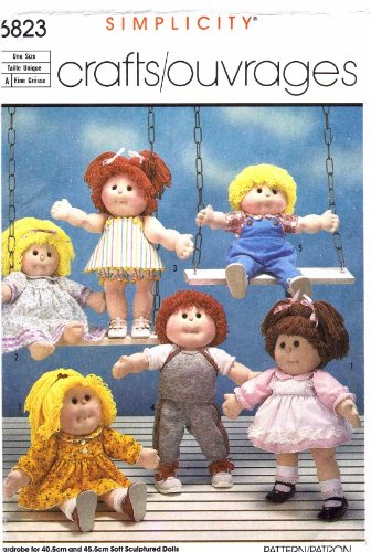 Simplicity 6823 Vintage Sewing Pattern Cabbage Patch Flower Kids Dolls Wardrobe