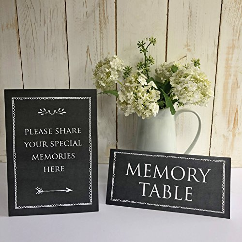 ANGEL & DOVE Set of 2 Signs: 'Memory Table' & 'Please Share Your Special Memories Here' (Black Chalkboard Effect) - Ideal for Funeral Condolence Book, Memorial, Celebration of Life